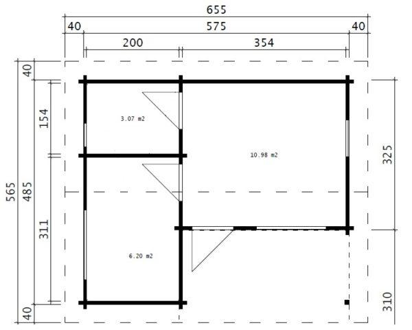 Vierasmaja Oscar 21 m² / 6 x 5 m / 70mm