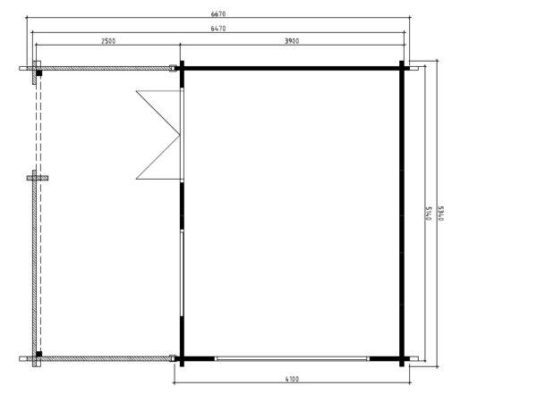 Vierasmaja Armin 19m² / 5,3 x 6,7 m / 70mm