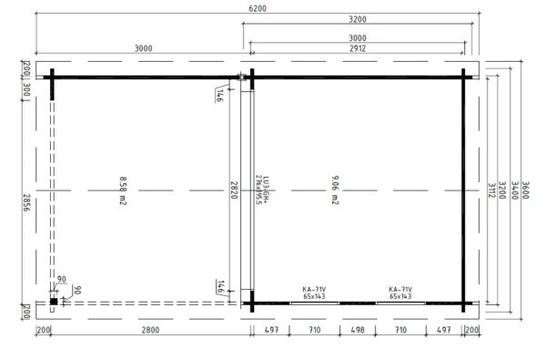 Vierasmaja Lucas E + Terassi 9m² / 3,2 x 3,4 m / 44mm