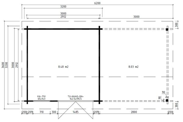 Vierasmaja Lucas D + Terassikatos 9m² / 3 x 3 m / 44mm