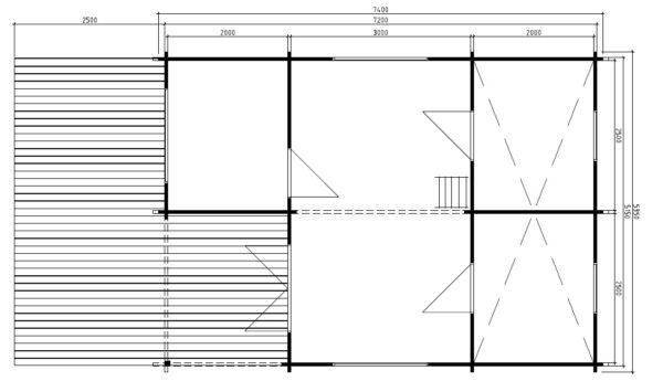 Kesämökki Copenhagen 31m² / 5,4 x 7,4 m / 50mm