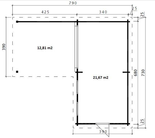 Pihamökki Hansa Corner Deluxe A + Terassi 22m² / 7 x 3 m / 70mm