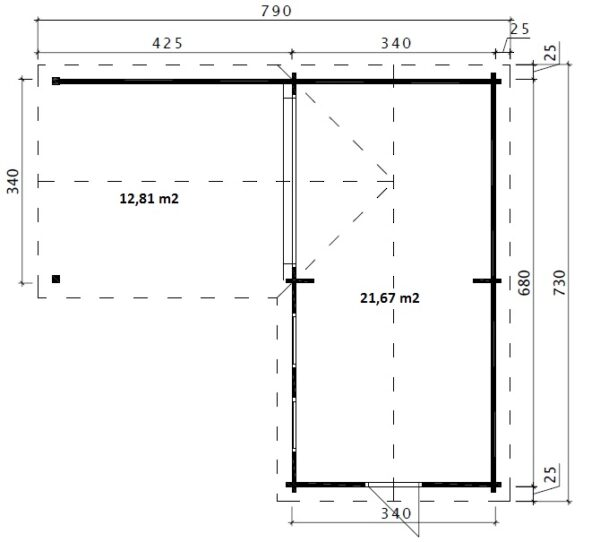 Pihamökki Hansa Corner Deluxe B + Terassi 22m² / 7 x 3 m / 70mm