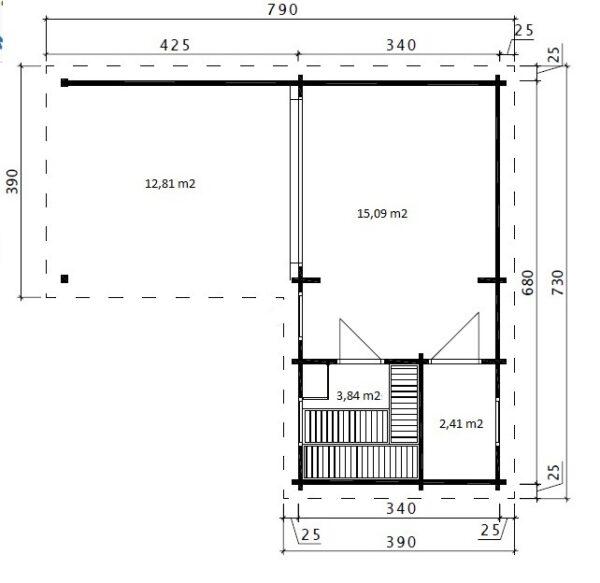 Pihasauna Hansa Deluxe A + Terassi 22m² / 7 x 3 m / 70mm