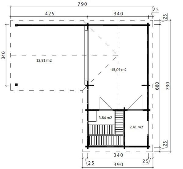 Pihasauna Hansa Deluxe B + Terassi 22m² / 7 x 3 m / 70mm