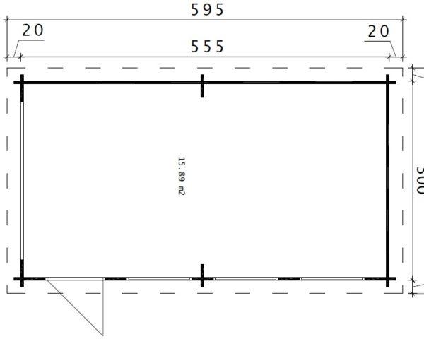 Autotalli C tuplaovilla 16m² / 3 x 5,5 m / 44mm