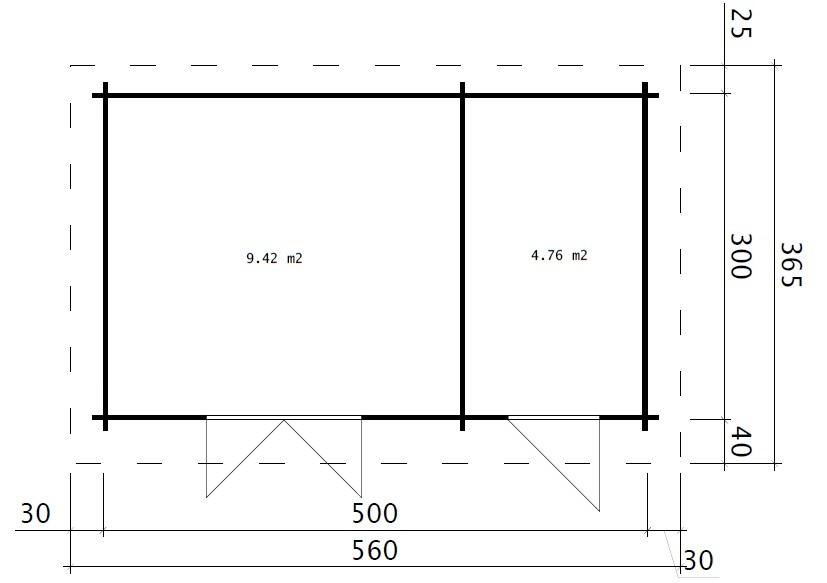 Pihavarasto C 15m² / 44mm / 5 x 3 m
