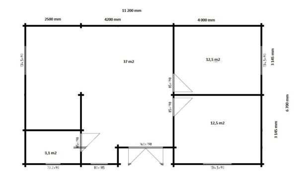 Kesämökki kahdella makuuhuoneella Dune 70m² / 11 x 6 m / 70mm