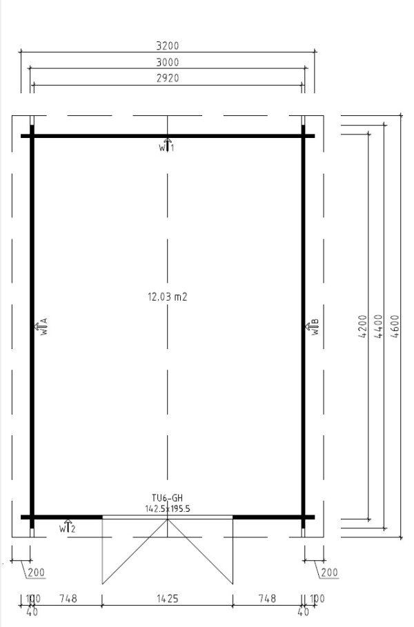 Pihavarasto Eva A 12m² / 3,2 x 4,4 m / 40mm