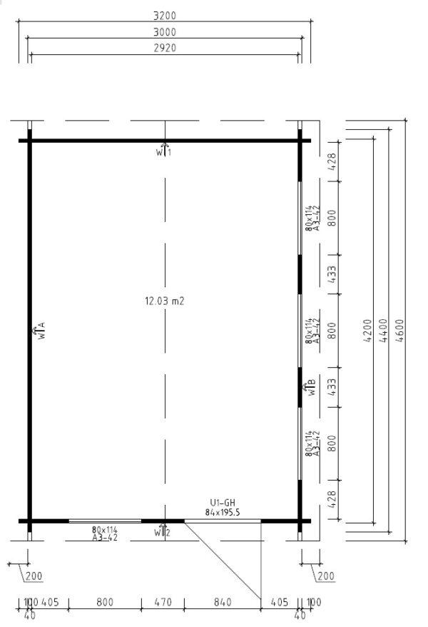 Vierasmaja Jacob C 12m² / 3,2 x 4,4 m / 40mm