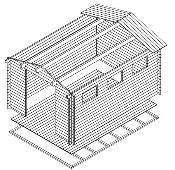 Pihavarasto Eva F 12m² / 3,2 x 4,4 m / 40mm