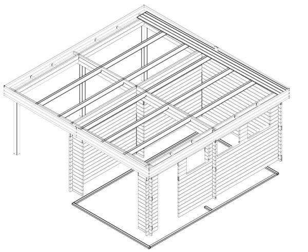 Autotalli + Autokatos H tuplaovilla 31m² / 5,7 x 5,5 m / 44mm