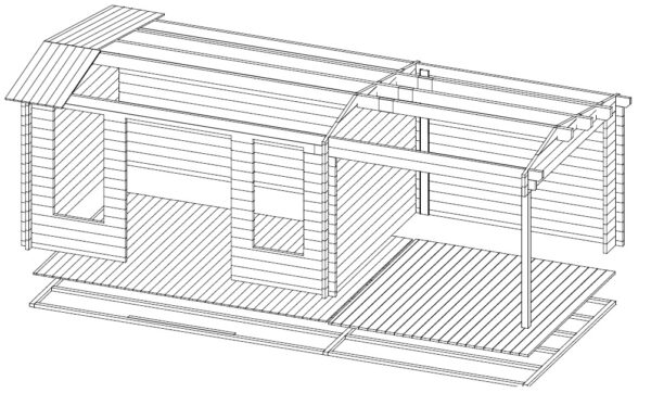 Vierasmaja Eva D + Terassi 12m² / 3,2 x 4,2 m / 44mm