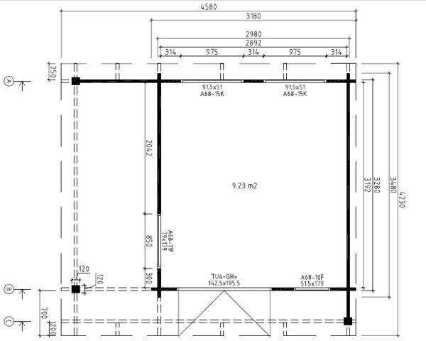 Vierasmaja Hansa Lounge Mini 9m² / 3 x 3 m / 44mm