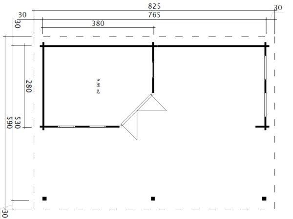Pihamökki + Iso Terassi Garden Paradise A 10m2 / 8 x 6 m / 50mm