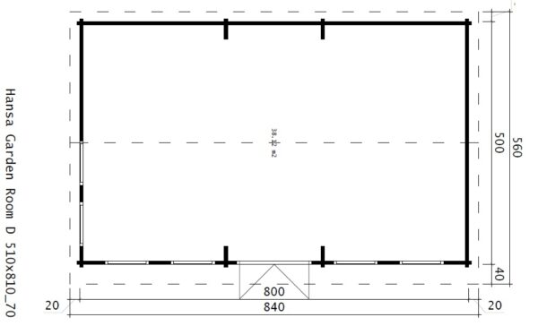 Iso Vierasmaja Garden Room D 38m² / 8 x 5 m / 70mm