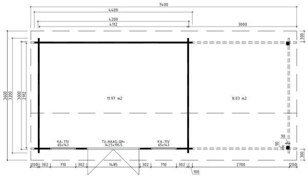 Vierasmaja Eva D + Terassikatos 12m² / 3,2 x 4,2 m / 44mm