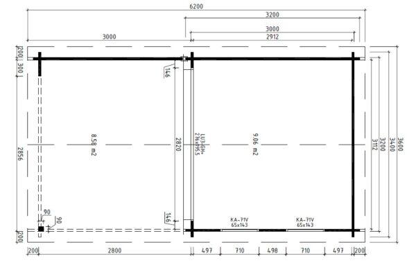 Vierasmaja Nora E + Terassi 9m² / 3,4 x 3,2 m / 44mm