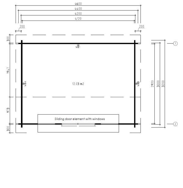 Vierasmaja Eva E 12m² / 3,2 x 4,4 m / 44mm