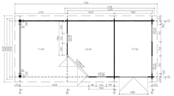 Vierasmaja + Varasto Paula 12,5m² / 7,5 x 3,2 m / 40mm