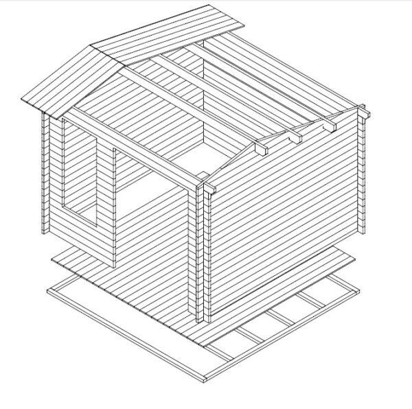 Vierasmaja Nora D 8,5m² / 3,2 x 3,2 m / 40mm