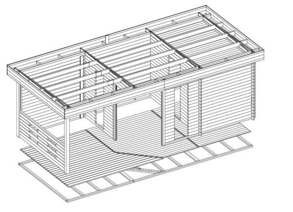 Pihasauna Paula 12,5m² / 7,5 x 3,2 m / 40mm