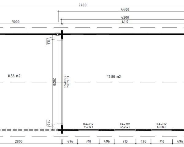 Vierasmaja Eva E + Terassi 12m² / 3,2 x 4,4 m / 44mm