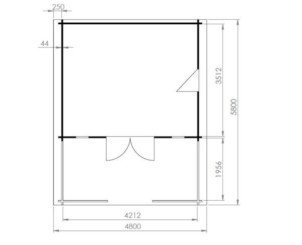 Vierasmaja Henry 15m² / 5,8 x 4,3 m / 44mm