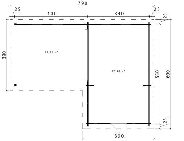 Pihamökki Hansa Corner A + Terassi 18m² / 6 x 3 m / 44mm