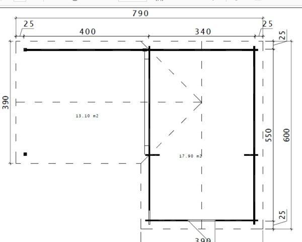 Pihamökki Hansa Corner B + Terassi 18m² / 6 x 3 m / 44mm