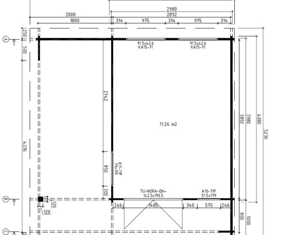 Vierasmaja Hansa Lounge 11,5m² / 5 x 5 m / 44mm