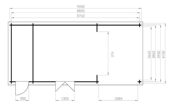 Vierasmaja + Varasto Heinz 22m² / 9 x 4 m / 44mm