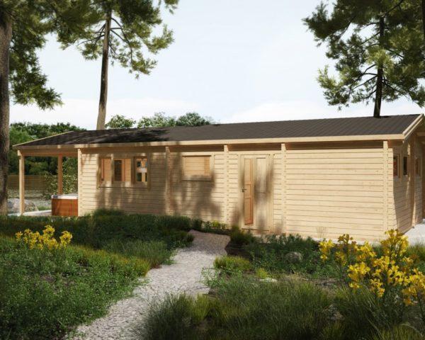 """Mökki kahdella makuuhuoneella """"The Lake House"""" 58m² / 13 x 6 m / 92mm"""