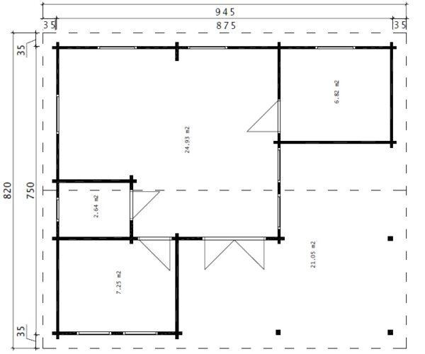 Kesämökki kahdella makuuhuoneella Holiday B 42m² / 9 x 7 m / 70mm