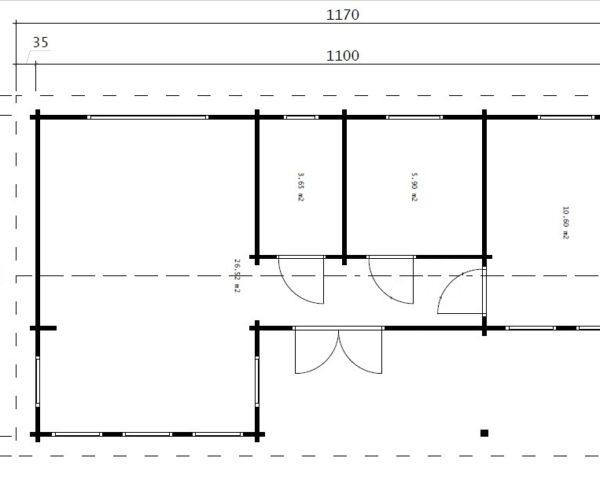 Kesämökki kahdella makuuhuoneella Holiday C 50m² / 11 x 6 m / 70mm