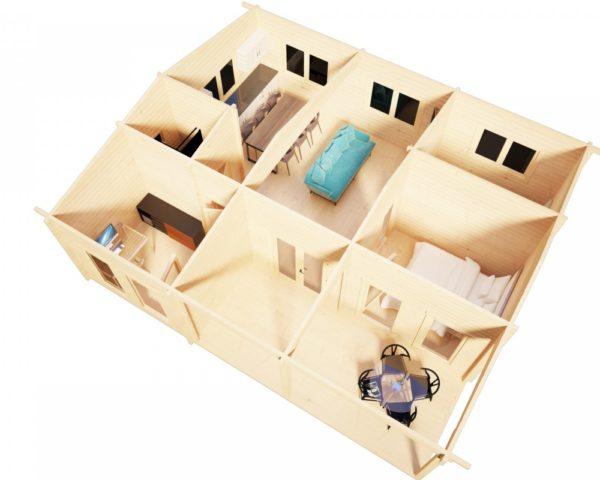 Kesämökki kolmella makuuhuoneella Holiday D 50m² / 9 x 7 m / 70mm
