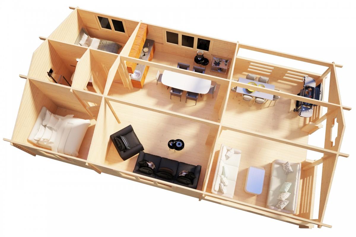 Kesämökki kahdella makuuhuoneella Holiday F 50m² / 12 x 7 m / 70mm