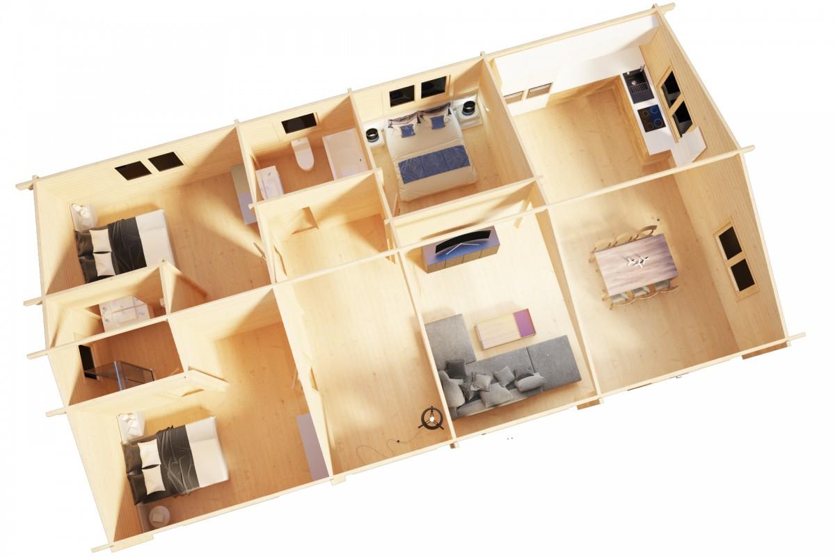 Kesämökki kolmella makuuhuoneella Holiday G 100m² / 14 x 7 m / 70mm