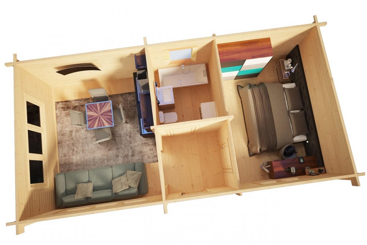 Vierasmökki yhdellä makuuhuoneella Hansa Holiday J 40m2 / 4,5 x 9 m / 70mm