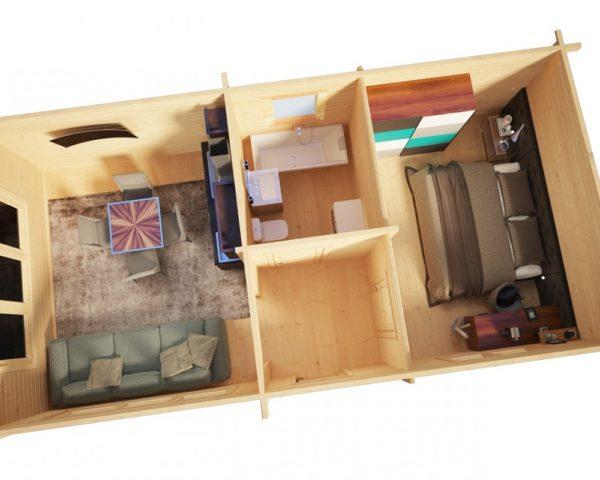 Vierasmökki yhdellä makuuhuoneella Hansa Holiday I 40m2 / 4,5 x 9 m / 70mm