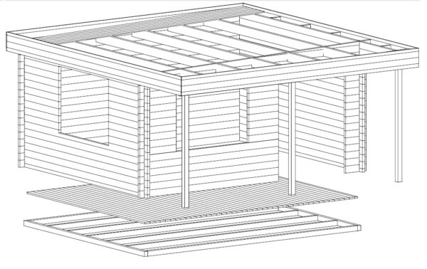Vierasmaja Ian C 18m² / 5 x 4,1 m / 50mm