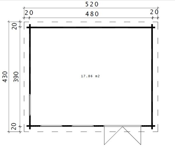Pihamökki Ian D 18m² / 5 x 4 m / 50mm