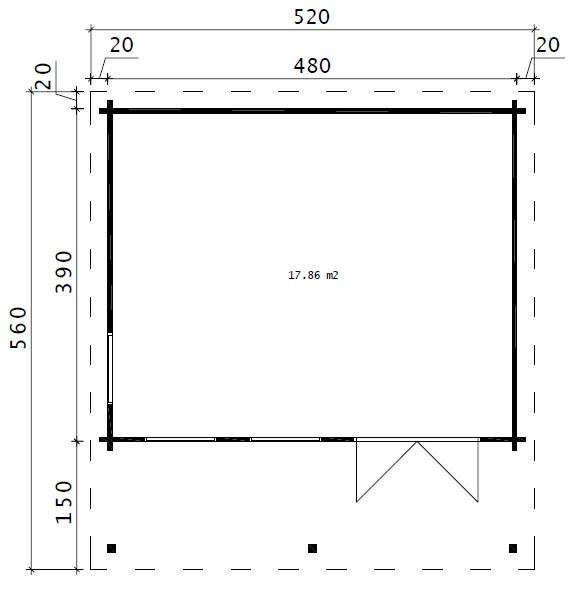 Pihamökki Ian E 18m² / 5 x 4 m / 50mm