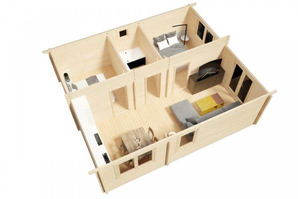 Kesämökki kahdella makuuhuoneella Ireland 43m² / 7 x 6 m / 70mm
