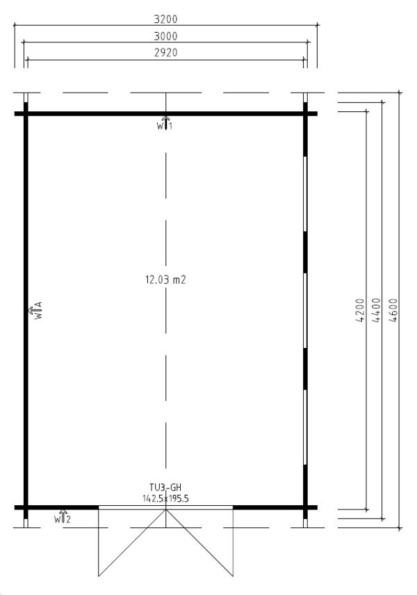Vierasmaja Jacob B 12m² / 3,2 x 4,4 m / 40mm