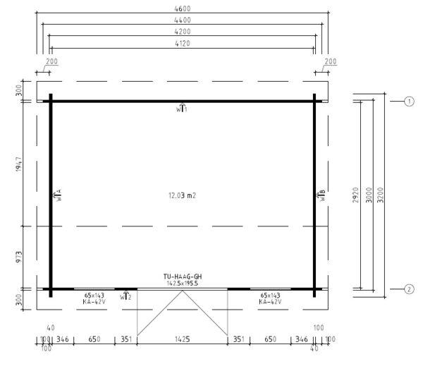 Vierasmaja Jacob D 12m² / 3,2 x 4,4 m / 40mm