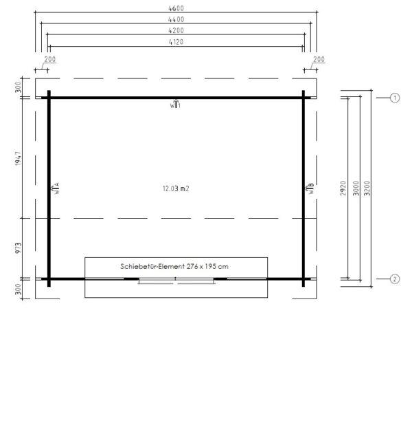 Vierasmaja Jacob E 12m² / 3,2 x 4,4 m / 44mm