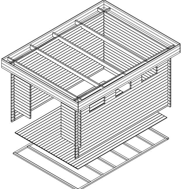 Pihavarasto Jacob F 12m² / 3,2 x 4,4 m / 40mm