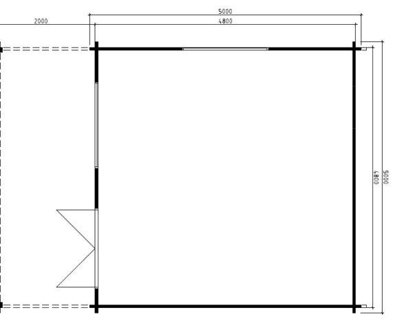 Vierasmaja Karl 22m² / 5 x 5 m / 50mm