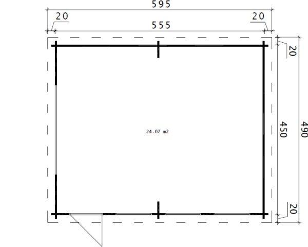 Suuri autotalli D tuplaovilla 24m² / 4,5 x 5,5 m / 44mm